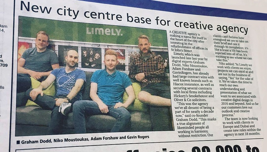 We're in this weeks edition of the Chester Standard Newspaper. Creative Agency Limely.