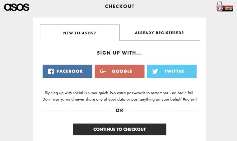 ASOS checkout process