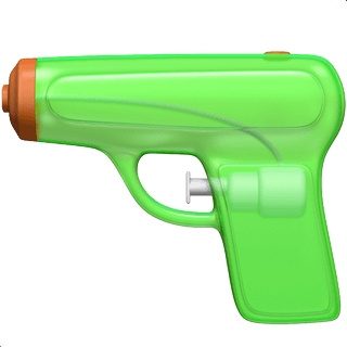 The 'threatening' gun emoji gets replaced with a bright water pistol