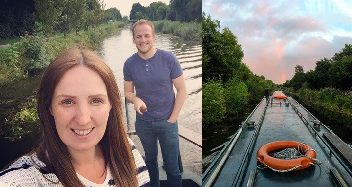 Adam and Hannah enjoying a canal trip in Dublin